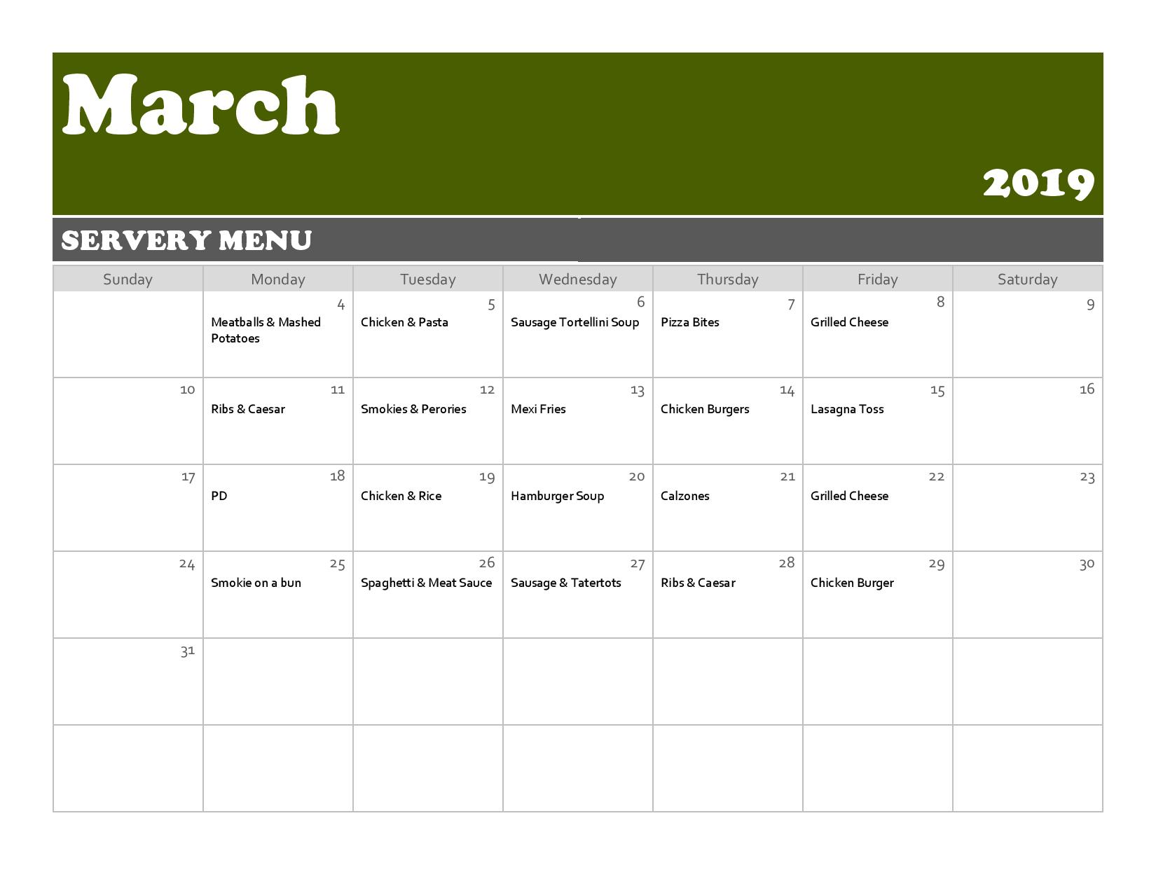 March Servery